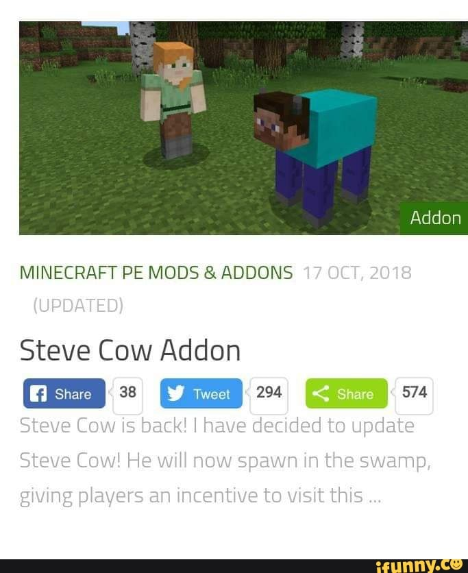 MINECRAFT PE MODS & ADDONS Steve Cow Addon - iFunny :)