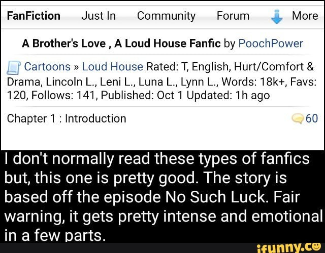 A Brother's Love , A Loud House Fanfic by PoochPower 7 Cartoons