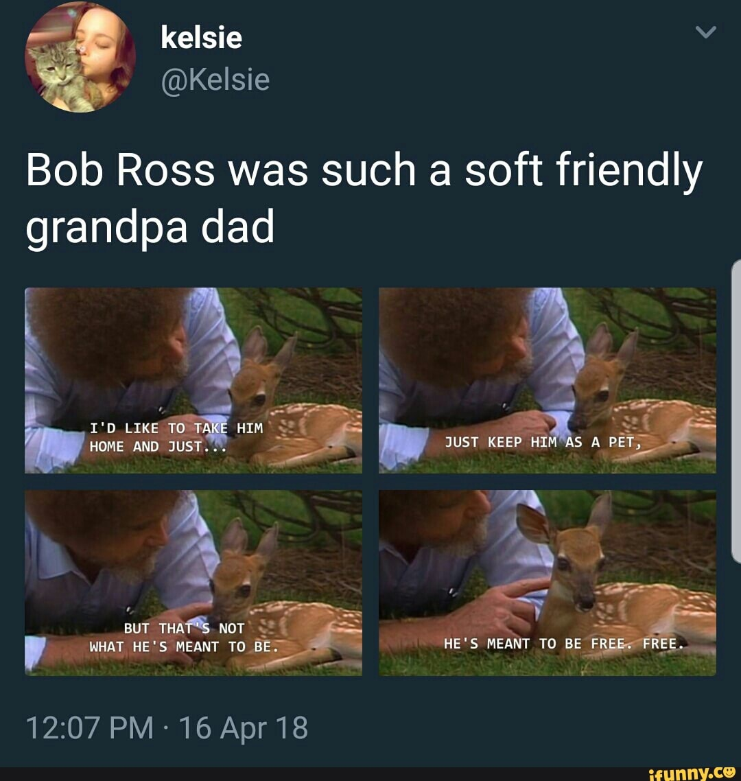 Bob Ross Was Such A Soft Friendly Grandpa Dad Ifunny