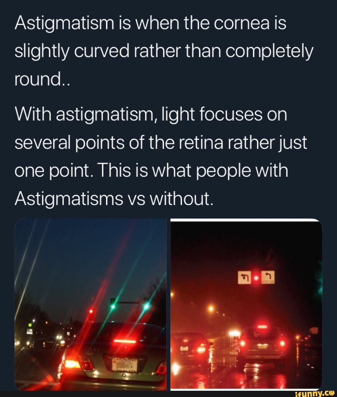 what lights look like when you have astigmatism