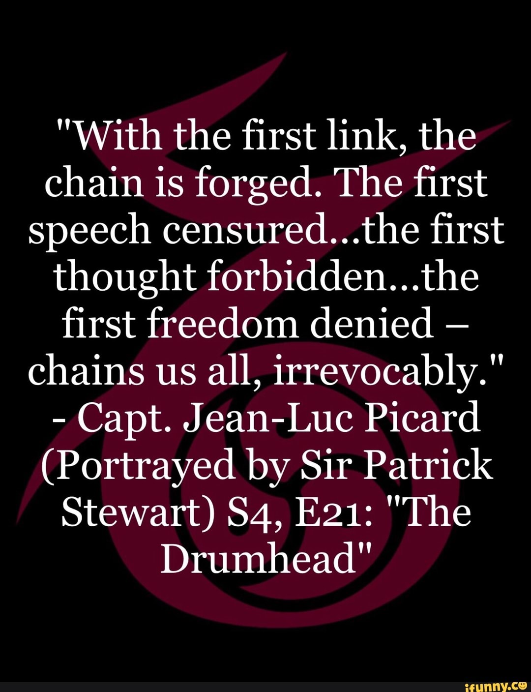 With the first link, the chain is forged  The first speech