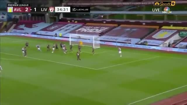 35th minute: John McGinn (Aston Villa) vs Liverpool 3-1 ...