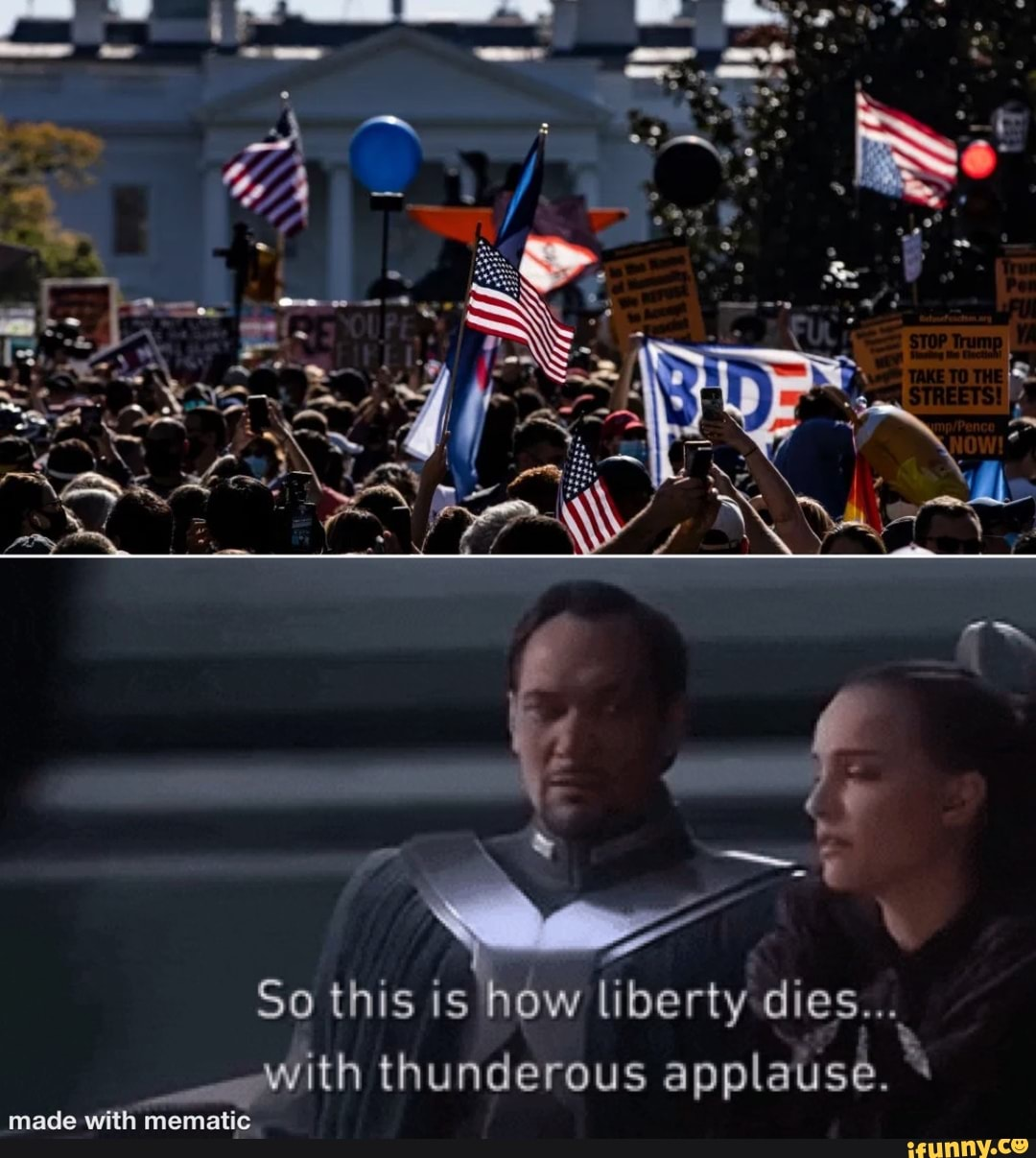So this is how liberty dies... with thunderous applause.