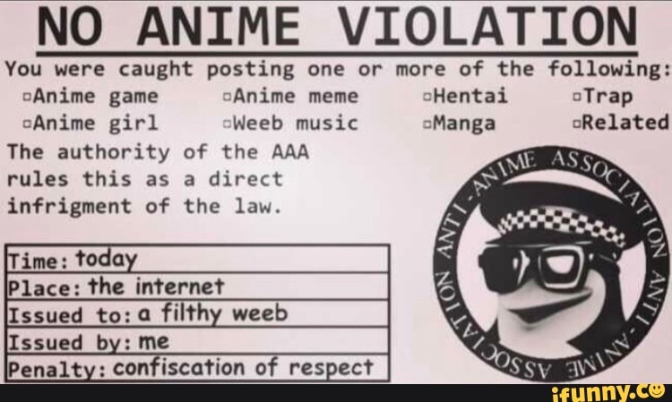 NO ANIME VIOLATION You were caught posting one or more of ...