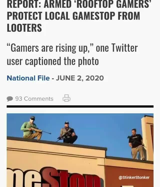 Report Armed Ruufiop Gamers Protect Local Gamestop From Looters