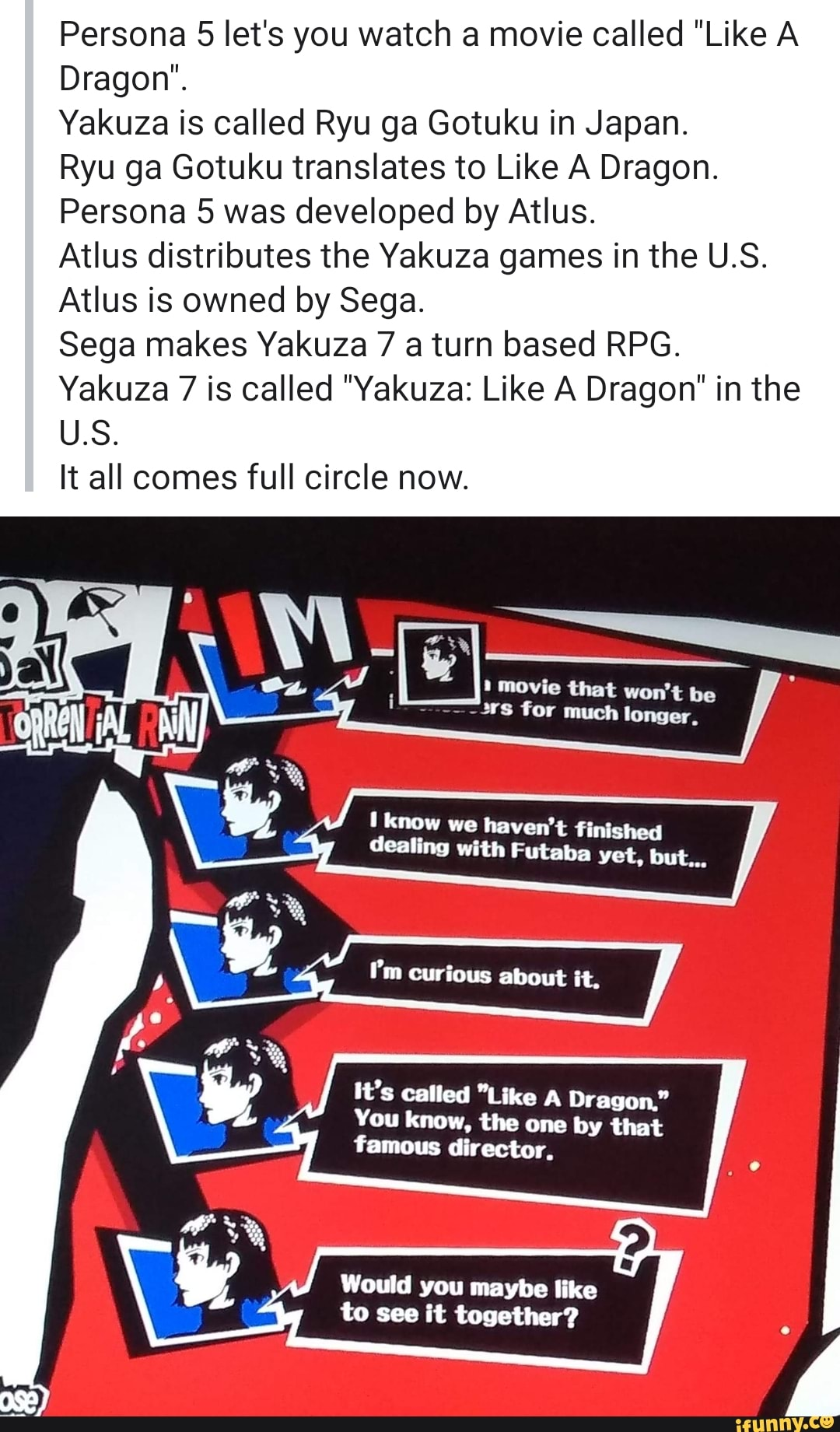 Persona 5 Let S You Watch A Movie Called Like A Dragon Yakuza