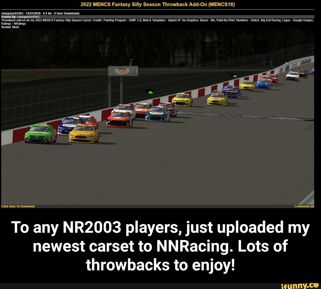 To any NR2003 players, just uploaded my newest carset to NNRacing