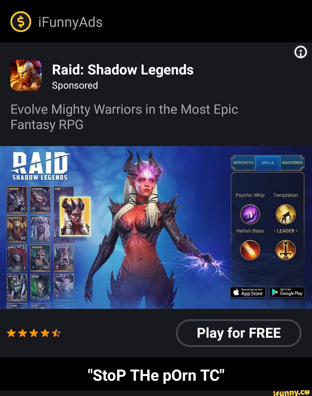 3 Raid:Shadow Legends fiv' Sponsored Evolve Mighty Warriors in the