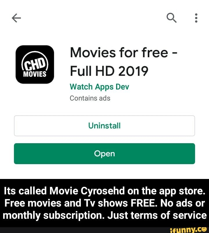 Ay Movies For Free A Full Hd 2019 Watch Apps Dev Contains Ads Uninstall Its Called Movie Cyrosehd On The App Store Free Movies And Tv Shows Free No Ads Or Monthly