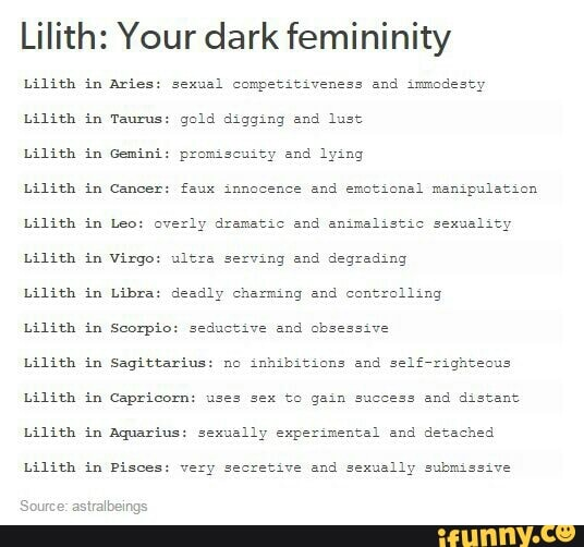 Lilith: Your dark femininity Lilith in Aries: 52x13