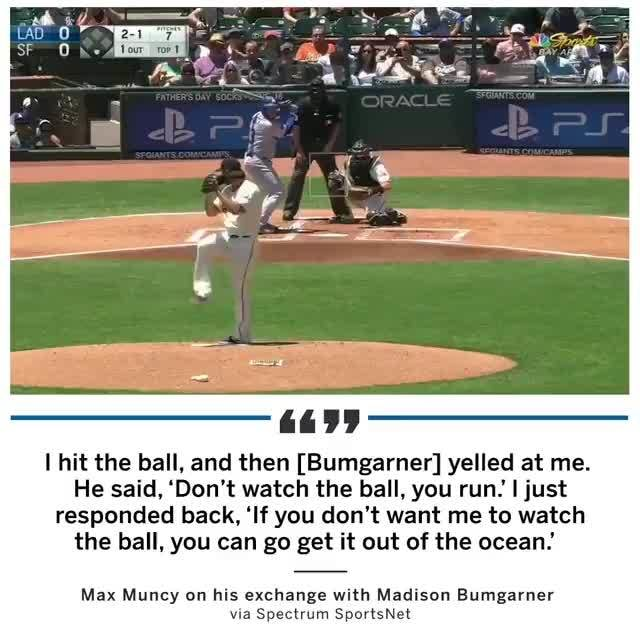 I Hit The Ball And Then Bumgarner Yelled At Me He Said Don T
