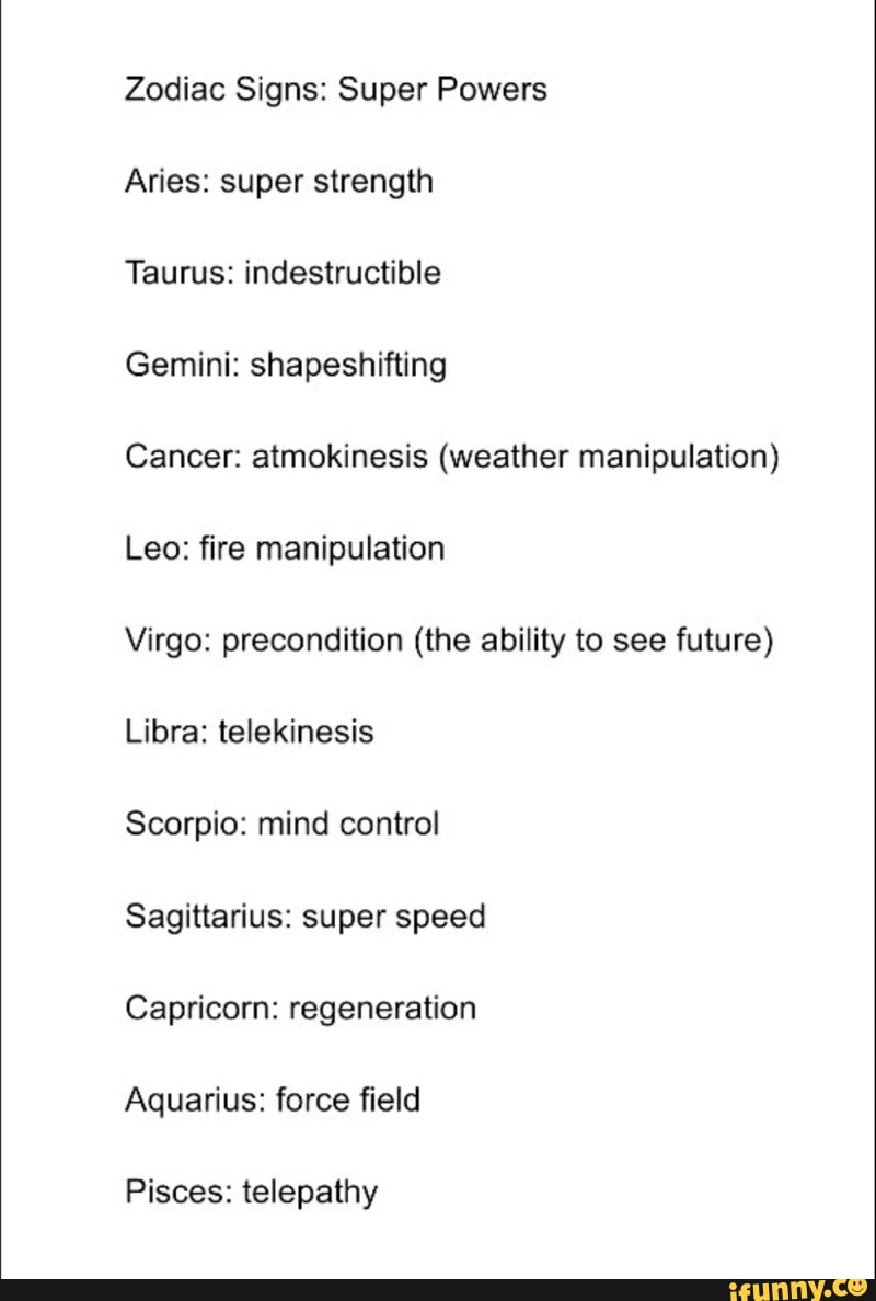 Zodiac signs superpowers